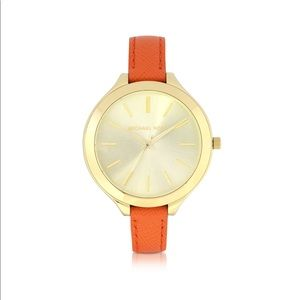 Michael Kors Slim Orange Leather Band Watch